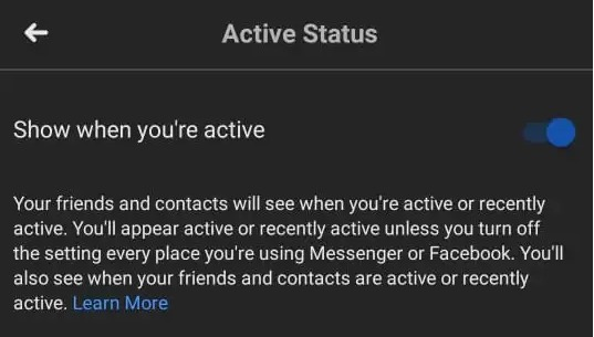 Active Status on Facebook